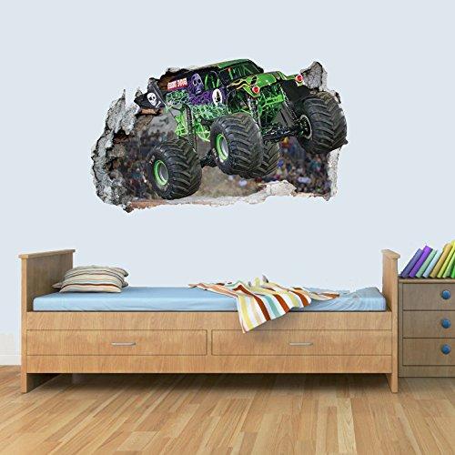 GNG Monster Truck Welt 3D Kinder Wand Kunst Aufkleber Breakout Smashed Jungen MädChen S L