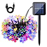 Waterproof Solar String Lights - Two-Way Charging Solar Fairy Lights Flower Lights USB Rechargeable Solar Powered String Lights 8 Modes Holiday Decorations for Patio Yard Lawn