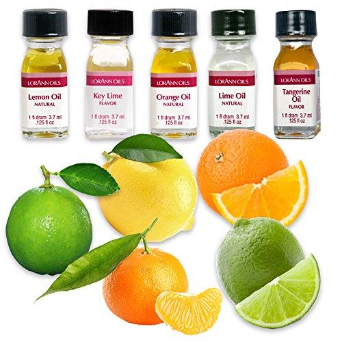 LorAnn Oils Backaroma SET Frisches Zitrus | Liquid Flavour SET Frisches Zitrus | Liquid Aroma | konzentriertes Lebensmittelaroma | Pure Flavour | 5er Pack a (3.7ml)