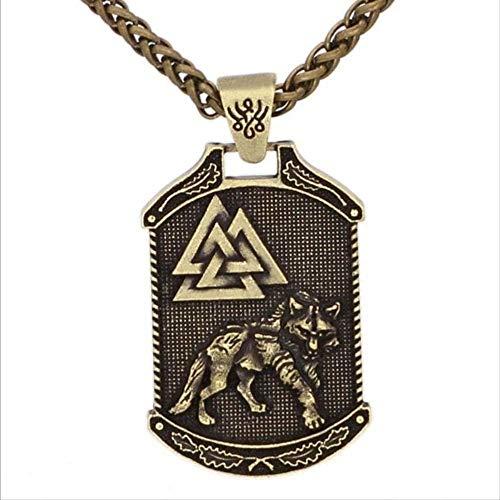 ZJJLWL Co.,ltd Necklace New Retro Nordic Odin Wolf Valknut Knot Pattern Pendant Necklace Men S Necklace Fashion Pendant Jewelry Accessorie