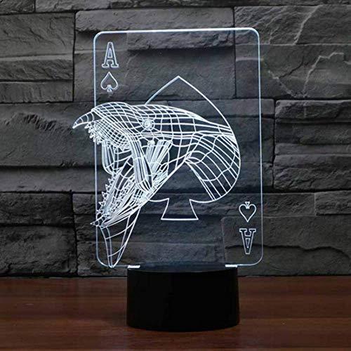 3D Visual Dormitorio Mesita de noche Decoración Nightlight Casino Poker Mesa Lámpara de escritorio USB 7 Cambio de color Mood Accesorio de iluminación Regalos