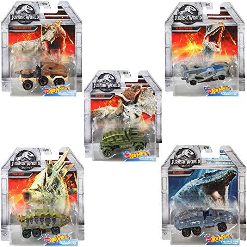Hot Wheels Jurassic World Character Cars Full Complete Set of 5 Diecast