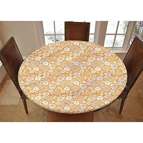 LCGGDB Floral Elastic Edged Polyester Fitted Tablecolth -Summer Garden Floral- XSmall Round Fitted Table Cover - Fits Tables up to 39' Diameter,The Ultimate Protection for Your Table