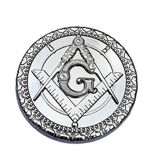 Masonic Auto Car Heavy Duty Emblem Decal BRITE Chrome Metal Polished