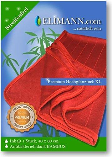 Elimann® Premium XL Hochglanz Reinigungstuch 60 x 40 cm extrem weich mit Bambus, waschbar, Reinigen ohne Chemie, perfekt geeignet für Küche, Glas, Spiegel, Brillen, Auto UVM. STREIFENFREI