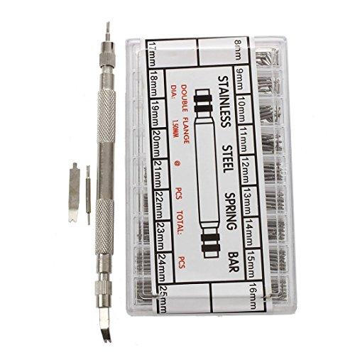 SODIAL(R) 360pzs 8-25 mm Barras de resorte de relojes de acero inoxidable + pines Barra de banda de reloj Barra de resorte