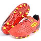 Botas de Fútbo 29 Niño Spike Zapatillas de Fútbol Bota de Rugby Unisex Niños Libre Atletismo Zapatos de Entrenamiento Profesionales Césped Artificial Zapatos de Fútbol Training Naranja