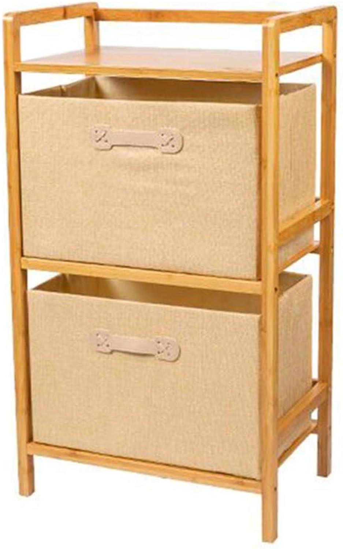 JCAFA Shelves Bamboo Shelf Cotton Linen Storage Box Wooden Handle Cortex Floor Stand Bathroom Kitchen Organizer Locker,3 colors (color   Frame+Leather Handle Beige Box)