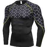 コンプレッションウェア メンズ 長袖 スポーツシャツ UVカット 吸汗速乾 ストレッチ シャツ トレーニング 加圧 インナー グリッド 4019 グレー グリーン M