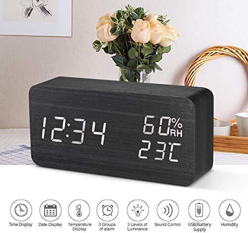 Clock Netter Wecker Hübsche Holz Sirenenton Steuer Sirene Exquisite Digital-Sirene USB Batterie Dimmer Innen-Hygrometer Led