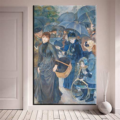 HGlSG paraplu's acryl regen canvas schilderij abstract landschap prints poster voor woonkamer muur A2 60x80cm