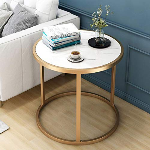 AMYAL Side Table Coffee Table End Tables Side Table Round End Table Modern Coffee Table with Metal Legs Small Snack Tables for Home Living Room Office, 60 * 43cm Sofa Snack Table (Color : White)