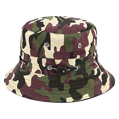 Vdn Djvn - Sombrero de algodón unisex para verano, diseño de camuflaje, transpirable, gorra de pescador, ajustable, 55-60 cm, 16 colores disponibles