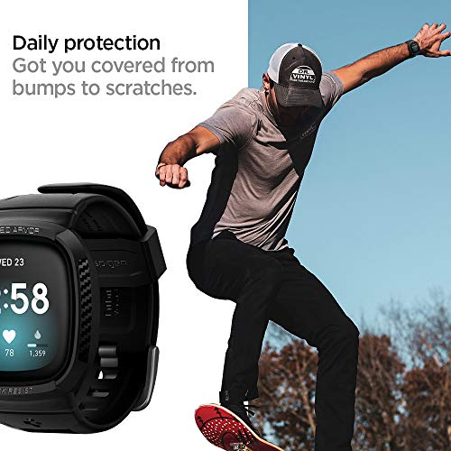 Spigen Rugged Armor Pro Designed for Fitbit Versa 3 Case with Band ...