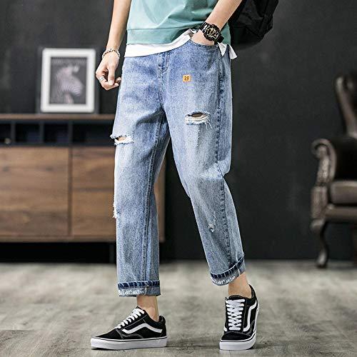 Pantalones Pantalones Cortos Holgados para Hombres Coreanos, Pantalones Vaqueros para Hombres, Pantalones Vaqueros con Tendencia De Pierna Ancha Verti