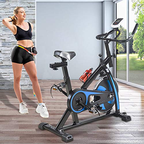 Best Home Product Indoor Exercise Bike Stationary Bike 42 Inch Height Cycling Bike Home Cardio Workout Health&Fitness Cycle Trainer Heart Pulse Monitor with LCD Display, Belt Driven Cycle Trainer Blue