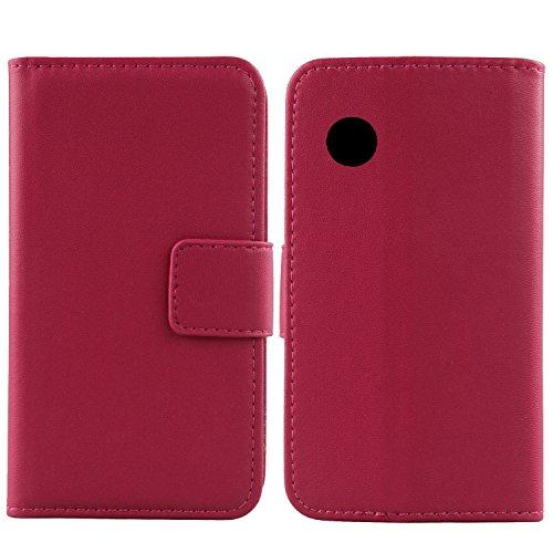 Gukas Design Echt Leder Tasche Für Wiko Ozzy Hülle Handy Flip Brieftasche mit Kartenfächer Schutz Protektiv Genuine Premium Hülle Cover Etui Skin Shell (Rosa)