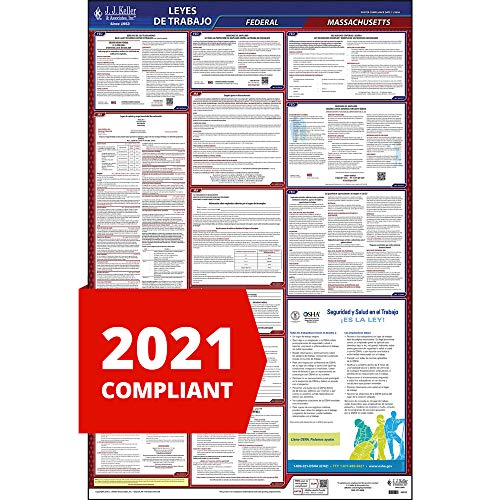 2021 Massachusetts State and Federal Labor Law Poster (Spanish, MA State) - OSHA Compliant All-in-One Laminated Poster - J. J. Keller & Associates