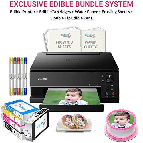 Icinginks Cake Printer Art Package includes Cake Printer, Edible Cartridges, Wafer Paper, Frosting Sheets, Set of 5 Double Tip Cake Markers - Best Canon Image Printer Exclusive Bundle