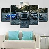 Lienzos decorativos NSX vs Skyline R34 vs Supra Car-150x80 CM Cuadros Modernos Impresión de Imagen Artística Digitalizada Lienzo Decorativo Para Salón o Dormitorio 5 Piezas