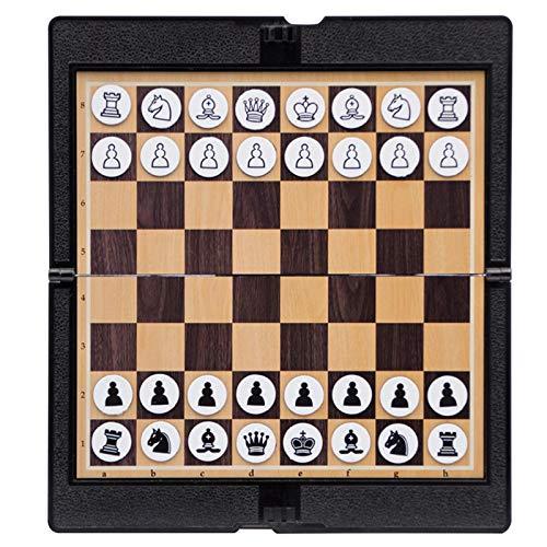 gouxia74534 Juego de ajedrez magnético, Juego de ajedrez de Rompecabezas,Tablero de ajedrez Plegable con Piezas de ajedrez Hechas a manoportátil, Juegos de Mesa, Adecuado para Principiantes y ni