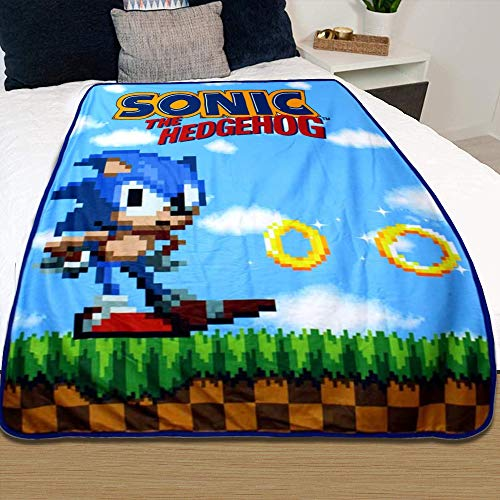 JUST FUNKY Official Sonic The Hedgehog, Polar Fleece, Soft Plush Travel Blanket/Throw, 45 X 60 Inch