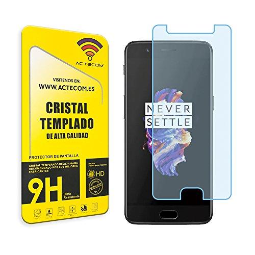 actecom® Protector Pantalla Compatible con One Plus 3 Cristal Vidrio Templado One +