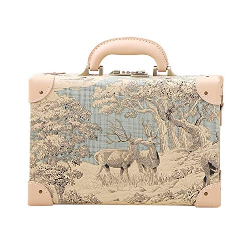 Makeup Case Retro Portable Suitcase 12 InchDanqing Water Painting
