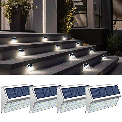 Step Lights, 4 Pack Solar Fence Lights Outdoor with 30 LED Waterproof Deck Lighting for Walkway Stairs - 4 Pack Cool White