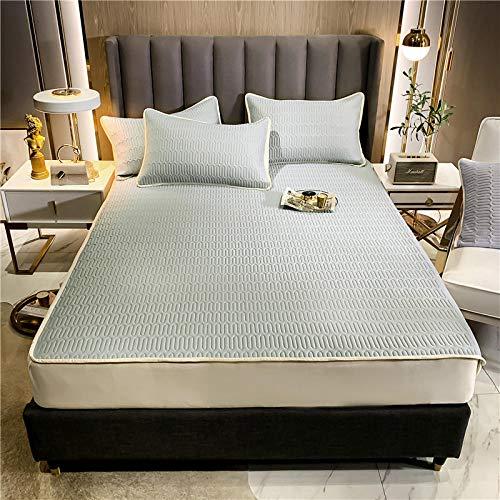 GTWOZNB Protector de colchón Acolchado - Microfibra - Transpirable - Funda para colchon estira hasta Sábana Estilo Summer Mat-Light Grey Blue_150 * 200cm
