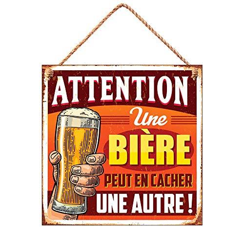 Plaque déco metal 20 x 20 cm attention une bière peut en cacher une autre !