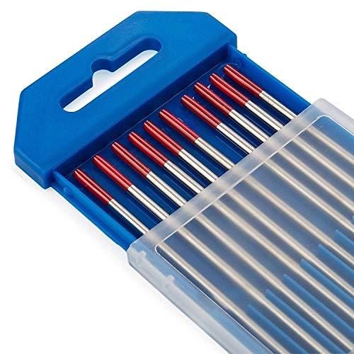 TEN-HIGH tig Electrodos de tungsteno Electrodos de soldadura, Torio 2% Rojo, Para soldadura CC, 1.6 mm x 150 mm
