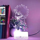 3D Led Lights My Hero Academia All Might Anime Figura Notturna Telecomando & 7 Colori Lampada d'umore Illuminazione Calda Compleanno Vacanze Halloween Idee Regalo Decorazioni per Ragazzi Adolescenti
