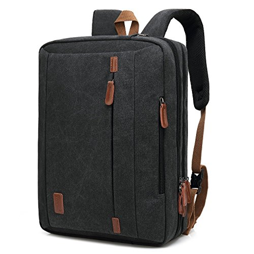 CoolBELL 15,6 Zoll umwandelbar Laptop Rucksack/Tasche Herren Messenger Bag Umhängetasche Canvas Aktentasche Multi-Functional Backpack für Laptop/MacBook/Damen(Schwarz)