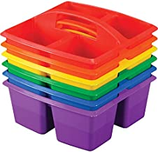 Really Good Stuff, Four-Equal-Compartment Caddies, Set of 4, Red, Orange, Yellow, Green, Blue, Purple,