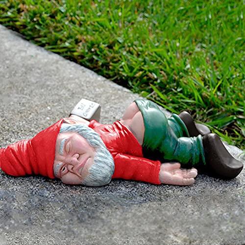 RYGHEWE Funny Drunk Garden Dwarf,Creative Drunk Dwarf Decoration,Dwarf Garden Statue,Resin...