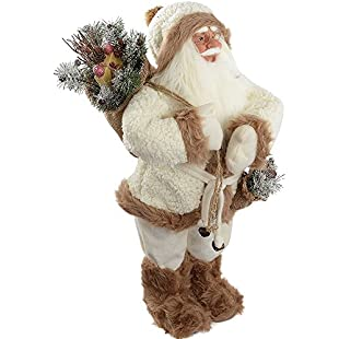 Tresalto WeRChristmas Standing Santa with Gift Sack in a Fur Outfit Decoration, 60 cm - White/Brown