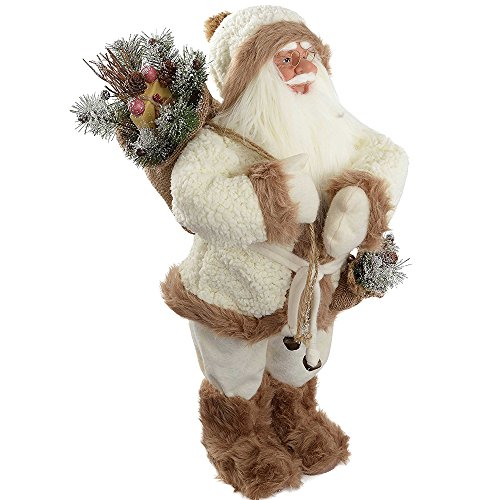 WeRChristmas Standing Santa with Gift Sack in a Fur Outfit Decoration, 60 cm - White/Brown