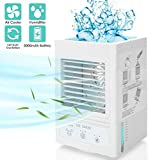 Portable Mini Air Conditioner Personal Rechargeable Battery 5000mAh Operated 60°/120°Auto Oscillation Air Cooler with 3 Wind Speeds,3 Cooling Levels, Perfect for Office Desk Dorm Bedroom Outdoors