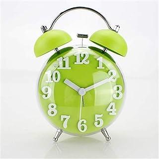 HSXOT Color Caramelo Esférico Campana Doble Despertador Reloj De Silencio Reloj Estéreo Reloj Digital Reloj Perezoso Verde