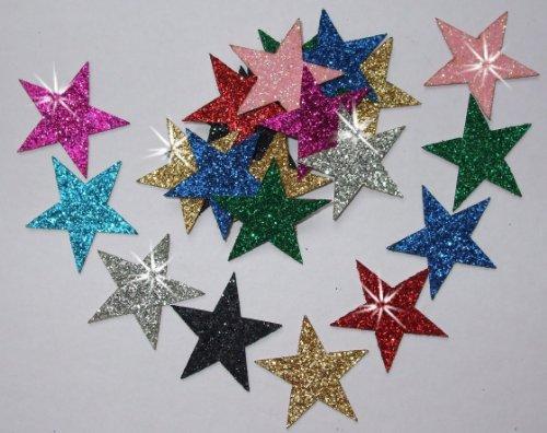 Sterne zum Aufbügeln aus Glitzerstoff, 48Stück, 25mm mix colours