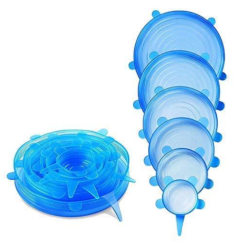 HelpCuisine® Couvercles Extensibles en Silicone, Couvercles universelles réalisé en silicone sans BPA et approuve par la FDA, couvercles Hermétique Pour Conservation de Nourriture, lot de 6 couvercles