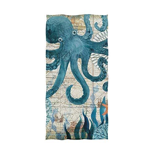 JIRT Decoración Retro Ocean May Octopus Toalla de baño Ultra Suave Toalla Multiusos Más Grande Muy Absorbente
