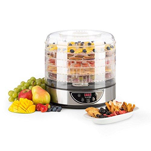 Klarstein Fruitower D - Dörrautomat, Dörrgerät, Obst-, Fleisch- und Früchte-Trockner, 5 Ablagegitter, Display, einstellbare Temperatur, Timer, einfache Reinigung, Edelstahl-Gehäuse, Silber