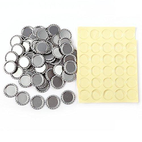 Anladia 100 St. 25mm EPOXY-Sticker Aufkleber selbstklebend & 100 St. Silber Kronkorken Flasche Kappe Bottle Cap
