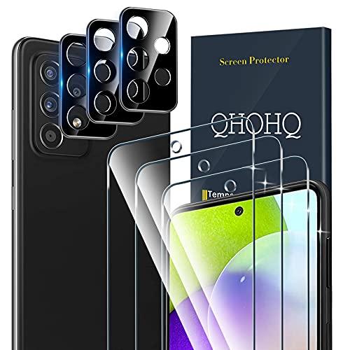QHOHQ 3 Stück Schutzfolie für Samsung Galaxy A52 4G / A52 5G / A52S 5G mit 3 Stück Kamera Schutzfolie, Panzerglas Membran, 9H Festigkeit, HD, Anti-Kratz, Blasenfrei, Einfach Installieren
