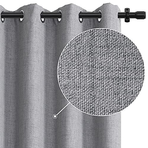 Rose Home Fashion 100% Blackout Curtains for Bedroom Linen Textured Look Drapes with Blackout Liner, Curtains for Living Room/Farmhouse, Burlap Curtains-Set of 2 Panels (50x84 Grey)