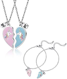 Unicorn BFF Necklace & Bracelet Jewelry Set Christmas Birthday Gifts for Your Daughter Granddaughter Niece