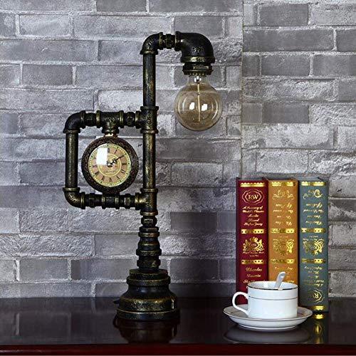 HAOQI E27 Wasserpfeife Steampunk Light Antike Vintage Schreibtischlampe Industrielle Leuchte mit Uhr Kreatives Nachtlicht (ohne Glühbirne)