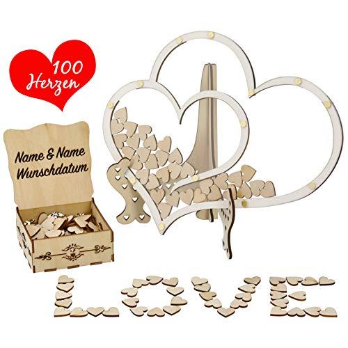Trust-Shop Gästebuch Hochzeit Holz personalisiert im schönen Holzrahmen - Hochzeitsgästebuch inkl Herzen zum beschriften - Herzrahmen zum Befüllen mit Holzherzen